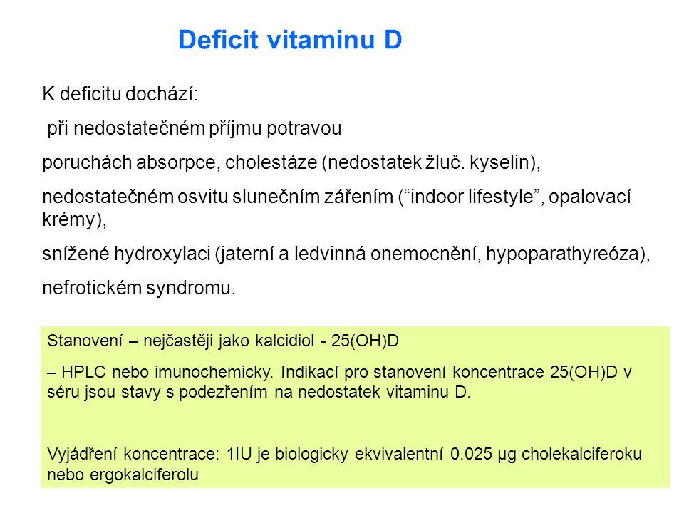 Deficit vitaminu D K deficitu dochází: