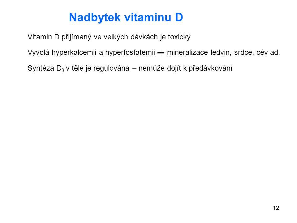 Nadbytek vitaminu D Vitamin D přijímaný ve velkých dávkách je toxický
