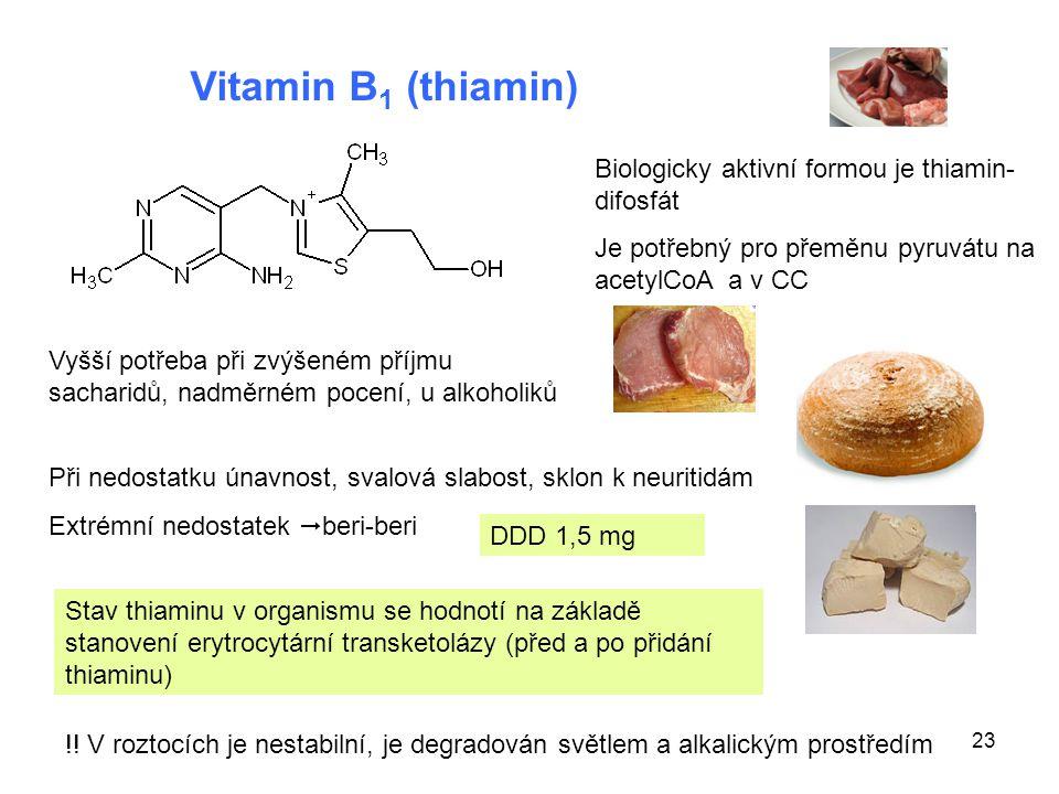 Vitamin B1 (thiamin) Biologicky aktivní formou je thiamin-difosfát
