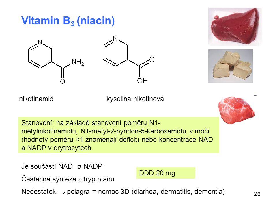 Vitamin B3 (niacin) nikotinamid kyselina nikotinová