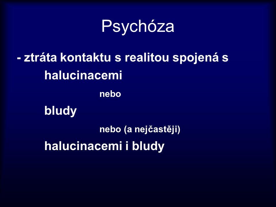 Psychóza - ztráta kontaktu s realitou spojená s halucinacemi nebo