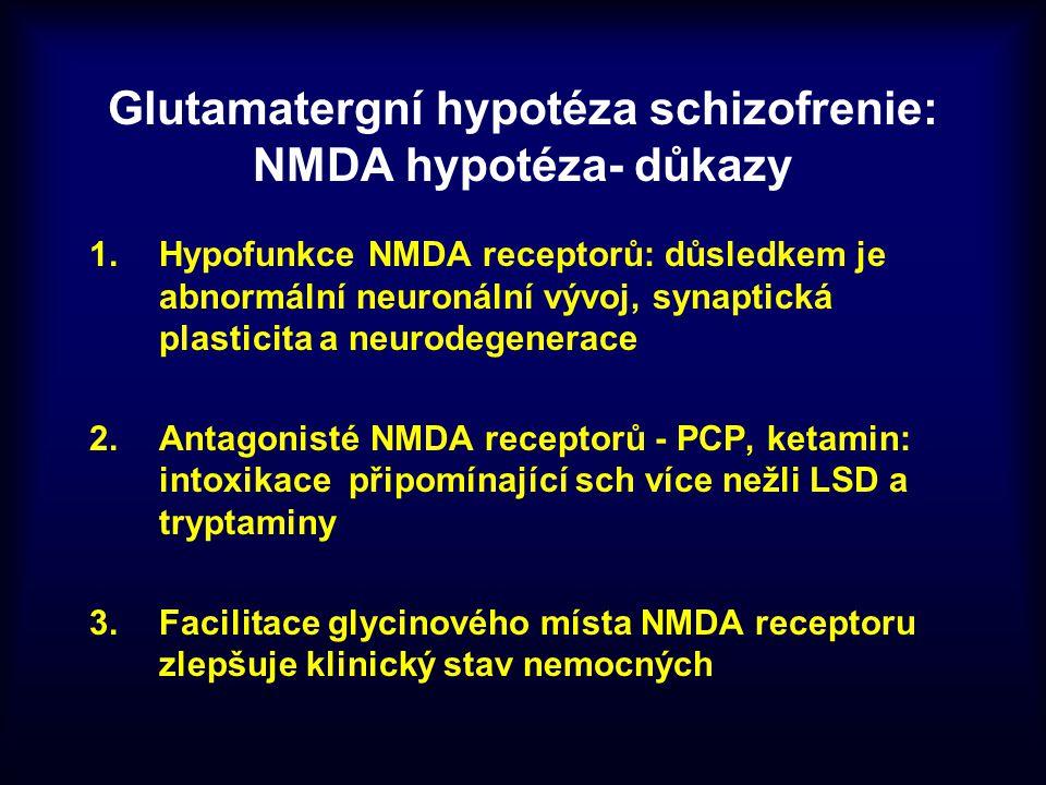 Glutamatergní hypotéza schizofrenie: NMDA hypotéza- důkazy