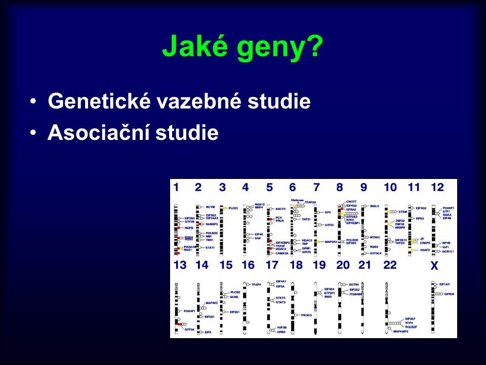 Jaké geny Genetické vazebné studie Asociační studie