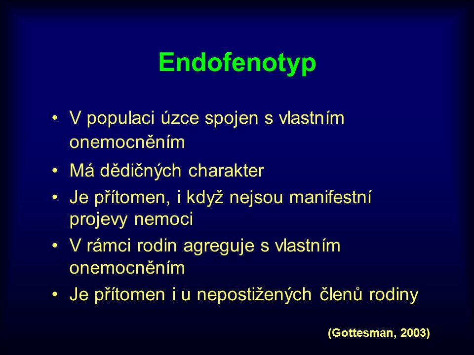 Endofenotyp V populaci úzce spojen s vlastním onemocněním