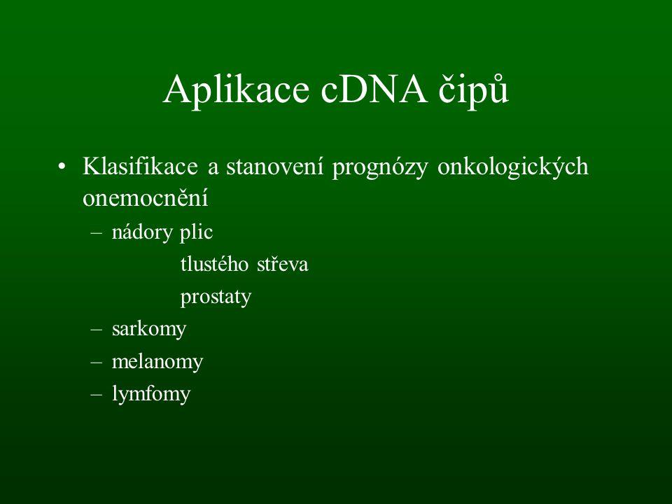Aplikace cDNA čipů Klasifikace a stanovení prognózy onkologických onemocnění. nádory plic. tlustého střeva.