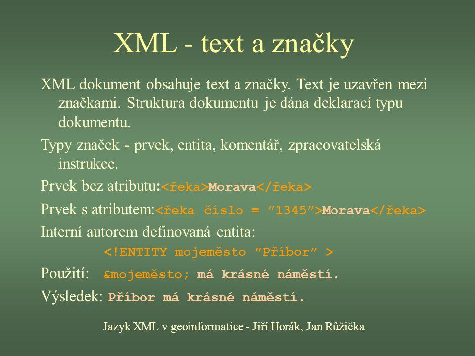 Jazyk XML v geoinformatice - Jiří Horák, Jan Růžička