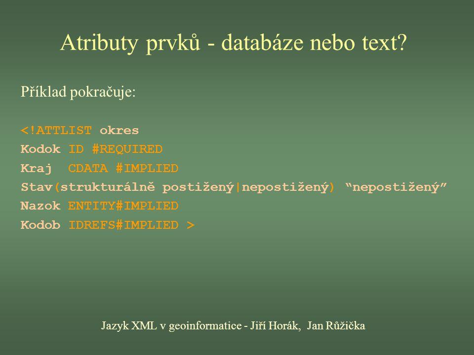 Atributy prvků - databáze nebo text