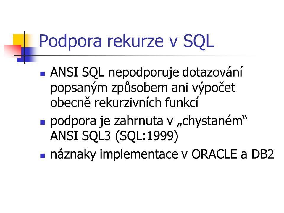 Podpora rekurze v SQL ANSI SQL nepodporuje dotazování popsaným způsobem ani výpočet obecně rekurzivních funkcí.