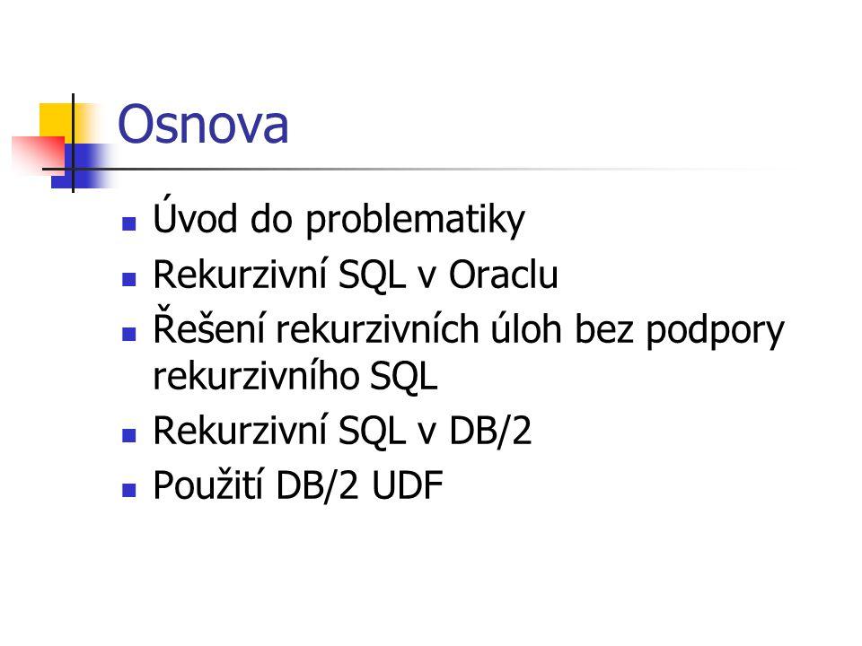 Osnova Úvod do problematiky Rekurzivní SQL v Oraclu