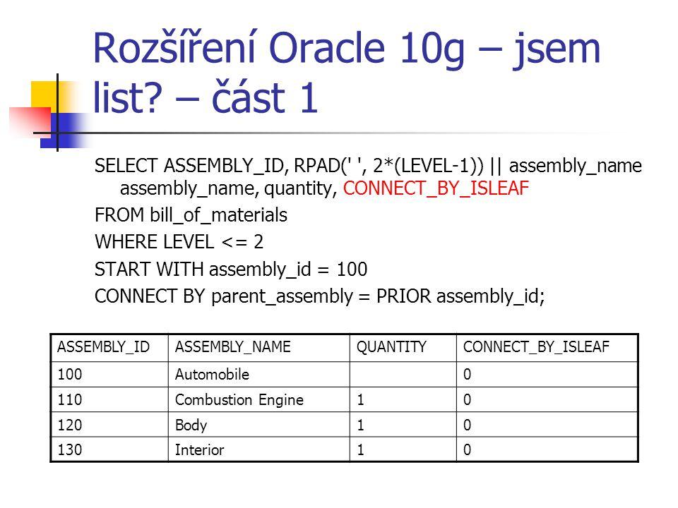 Rozšíření Oracle 10g – jsem list – část 1