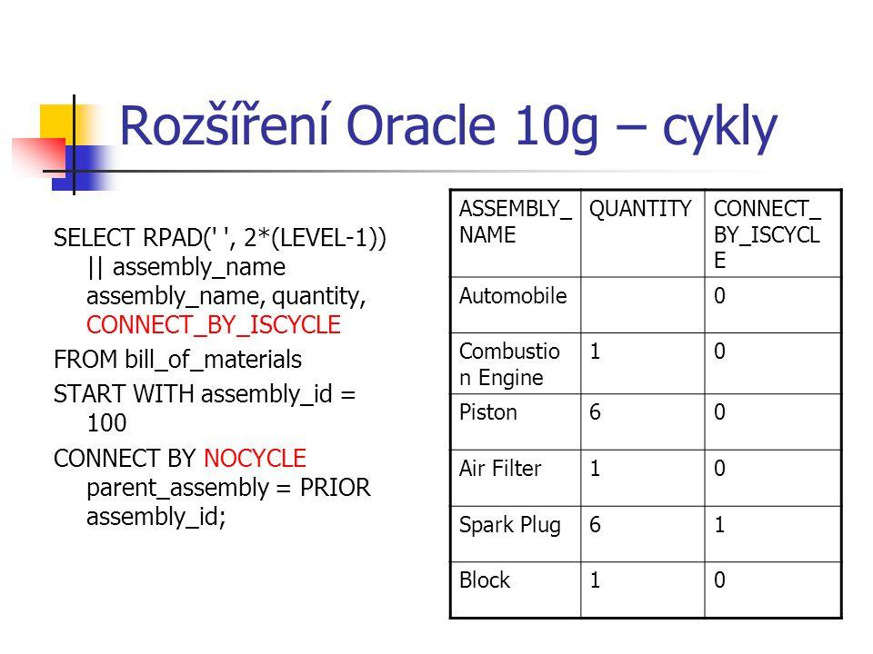 Rozšíření Oracle 10g – cykly