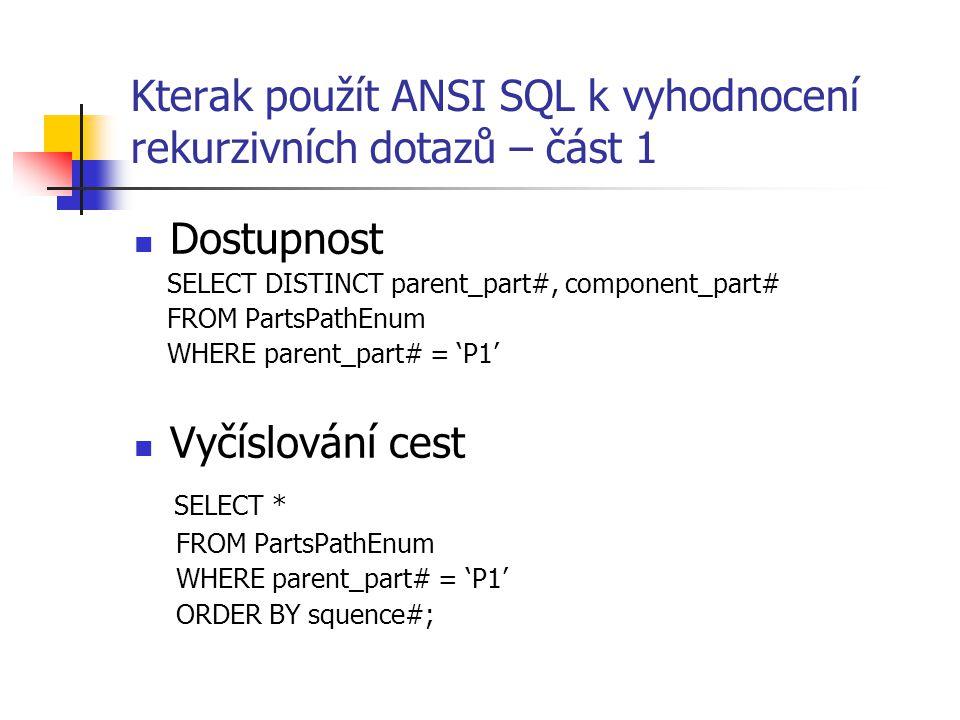 Kterak použít ANSI SQL k vyhodnocení rekurzivních dotazů – část 1