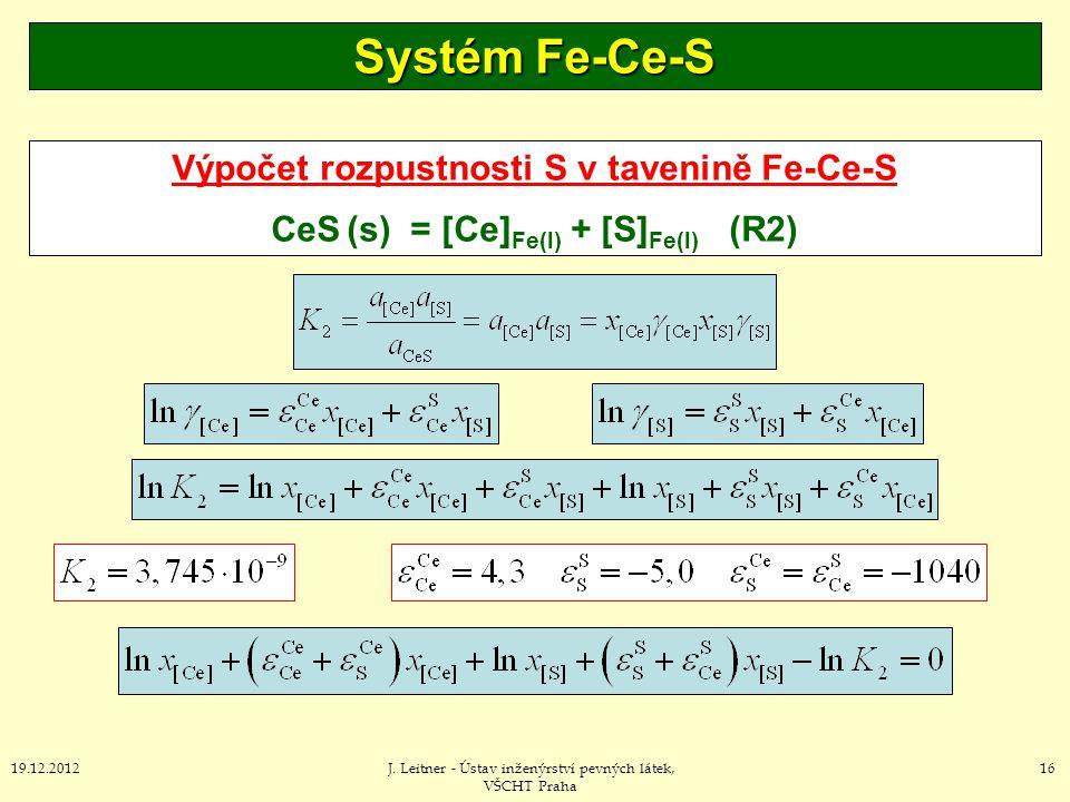 Systém Fe-Ce-S Výpočet rozpustnosti S v tavenině Fe-Ce-S