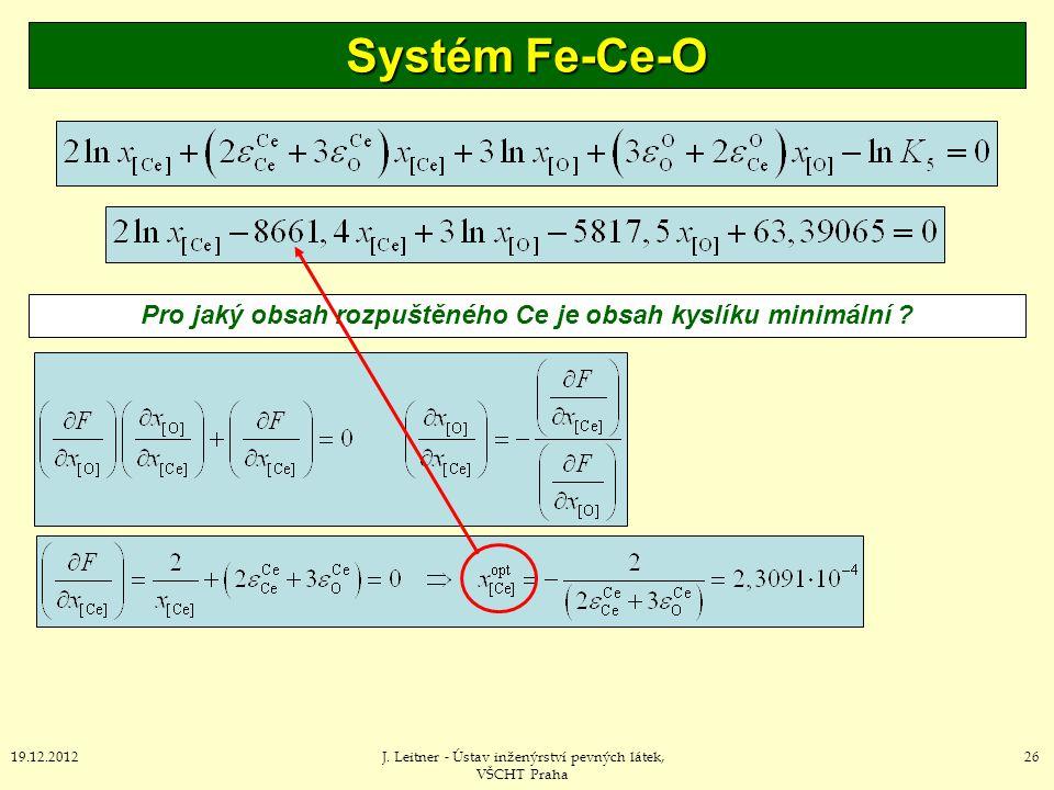 Pro jaký obsah rozpuštěného Ce je obsah kyslíku minimální