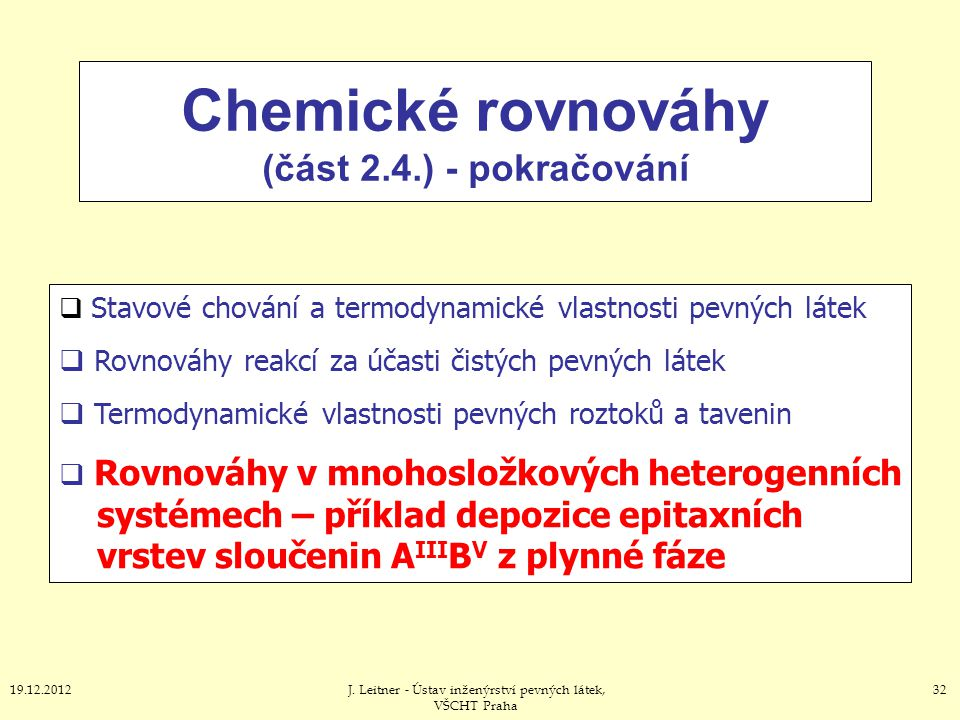 Chemické rovnováhy (část 2.4.) - pokračování