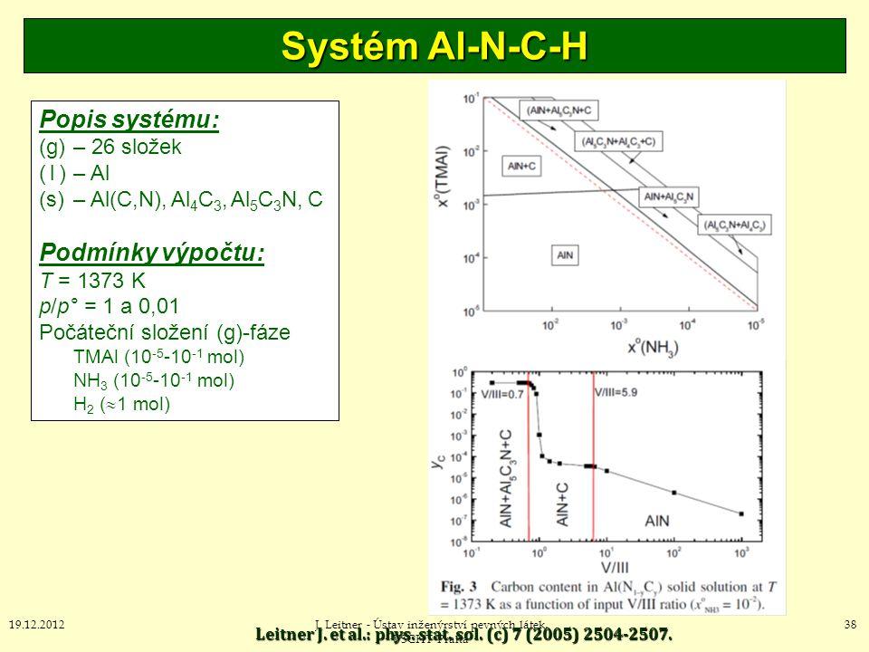 Systém Al-N-C-H Popis systému: Podmínky výpočtu: (g) – 26 složek
