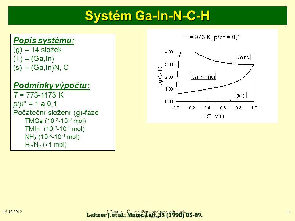 Systém Ga-In-N-C-H Popis systému: Podmínky výpočtu: (g) – 14 složek