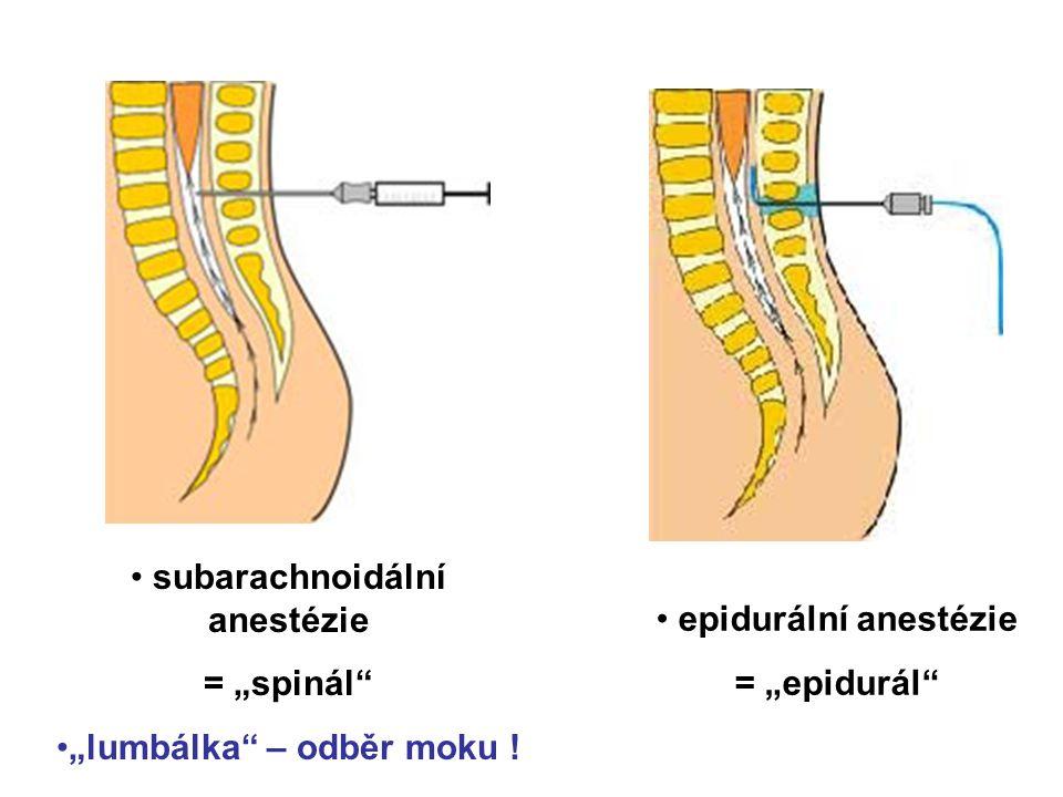 "subarachnoidální anestézie ""lumbálka – odběr moku !"
