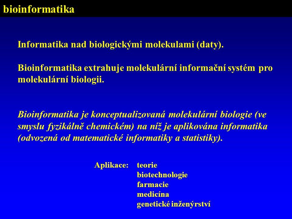 bioinformatika Informatika nad biologickými molekulami (daty).