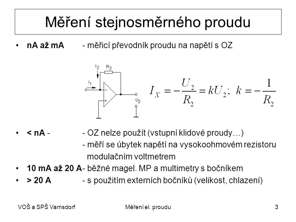 Měření stejnosměrného proudu