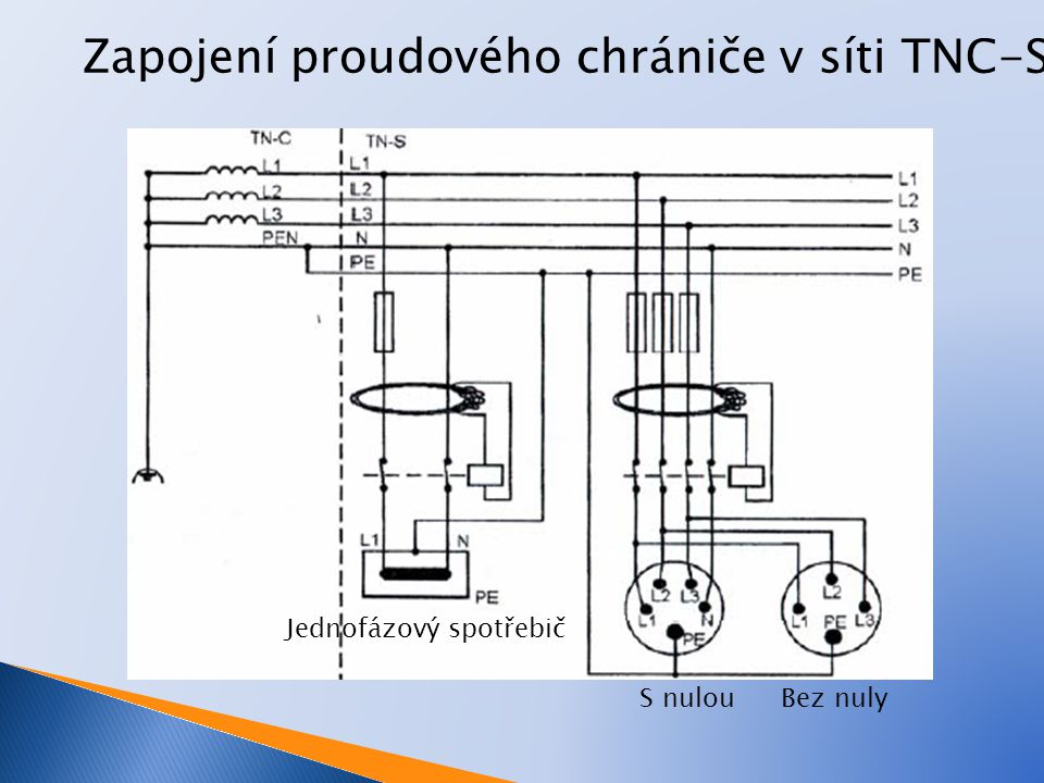 Zapojení proudového chrániče v síti TNC-S