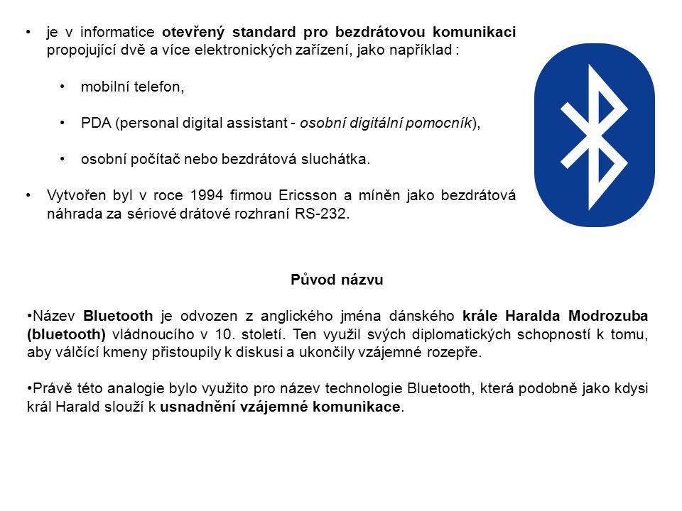 je v informatice otevřený standard pro bezdrátovou komunikaci propojující dvě a více elektronických zařízení, jako například :