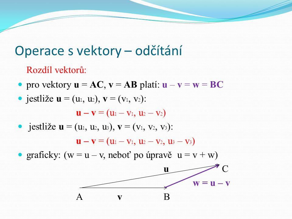 Operace s vektory – odčítání