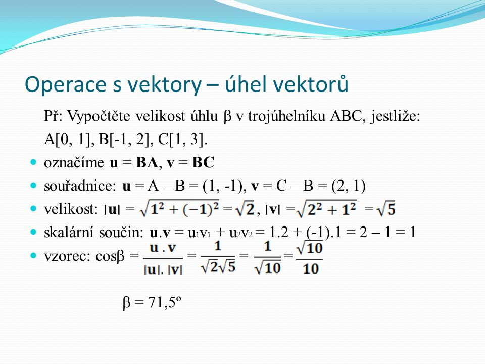 Operace s vektory – úhel vektorů