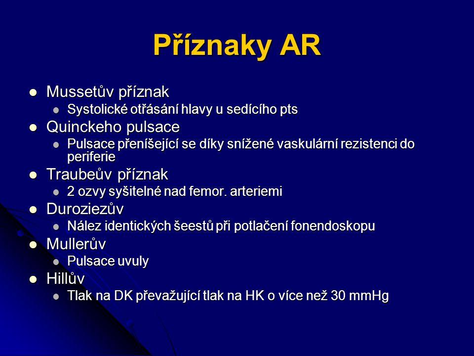 Příznaky AR Mussetův příznak Quinckeho pulsace Traubeův příznak
