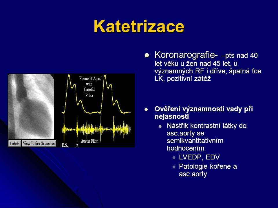 Katetrizace Koronarografie- –pts nad 40 let věku u žen nad 45 let, u významných RF i dříve, špatná fce LK, pozitivní zátěž.