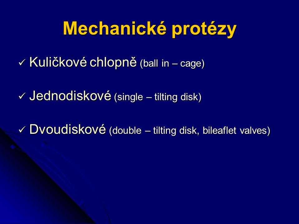 Mechanické protézy Kuličkové chlopně (ball in – cage)