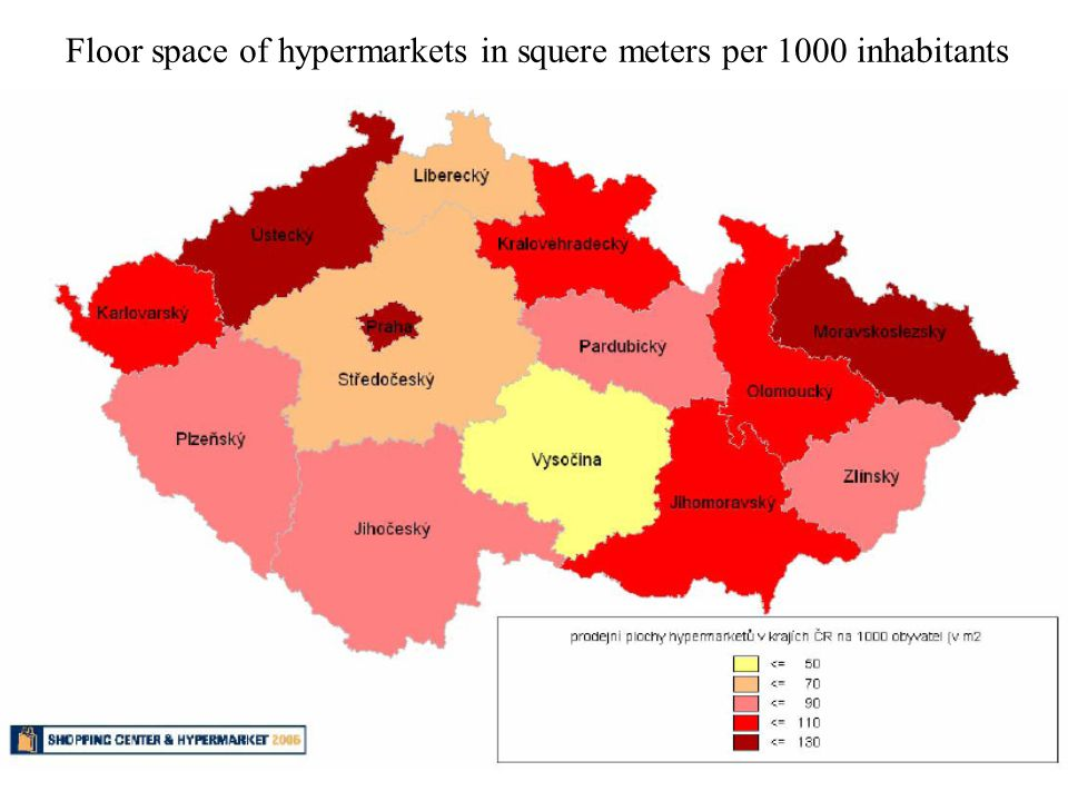 Floor space of hypermarkets in squere meters per 1000 inhabitants