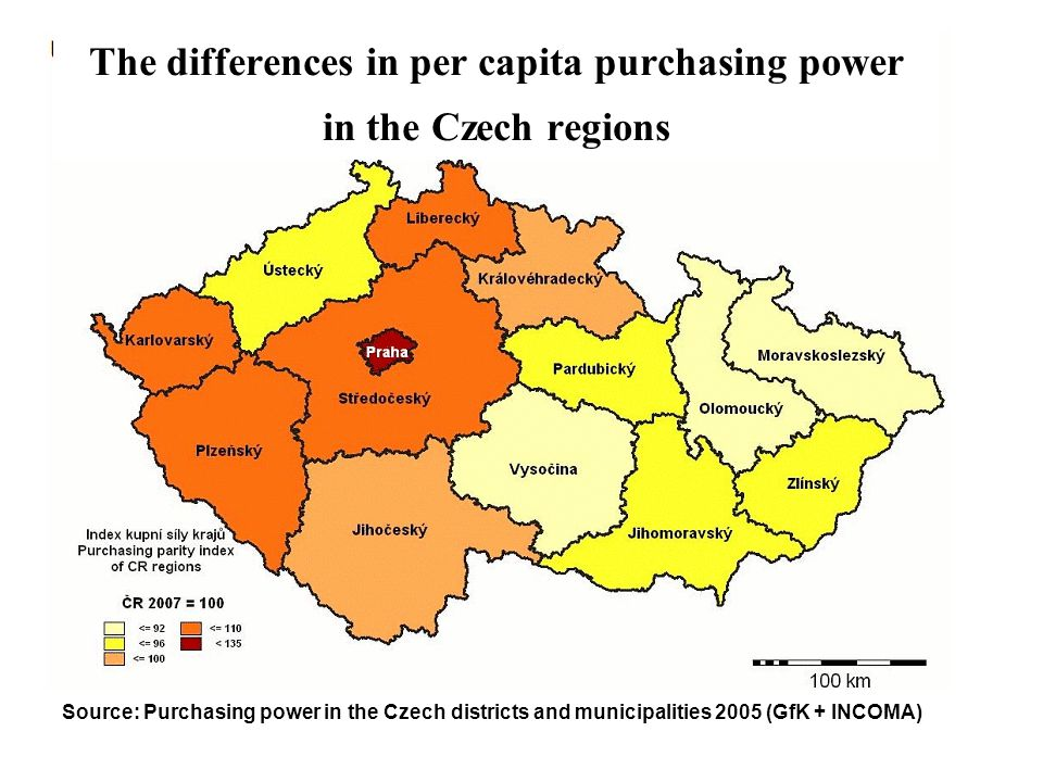 The differences in per capita purchasing power in the Czech regions