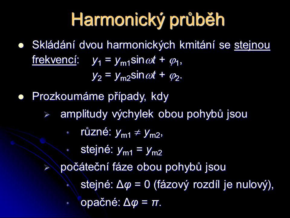 Harmonický průběh Skládání dvou harmonických kmitání se stejnou frekvencí: y1 = ym1sint + 1, y2 = ym2sint + 2.