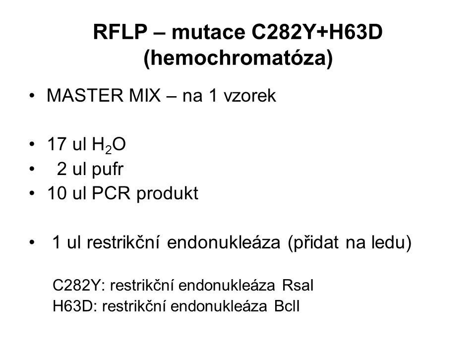 RFLP – mutace C282Y+H63D (hemochromatóza)