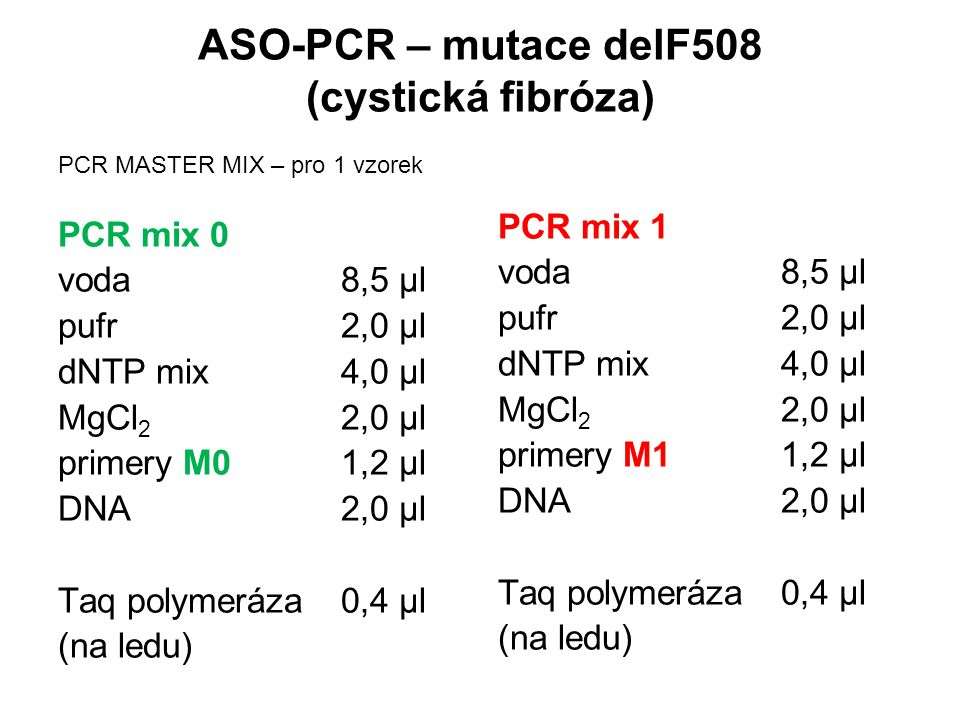 ASO-PCR – mutace delF508 (cystická fibróza)