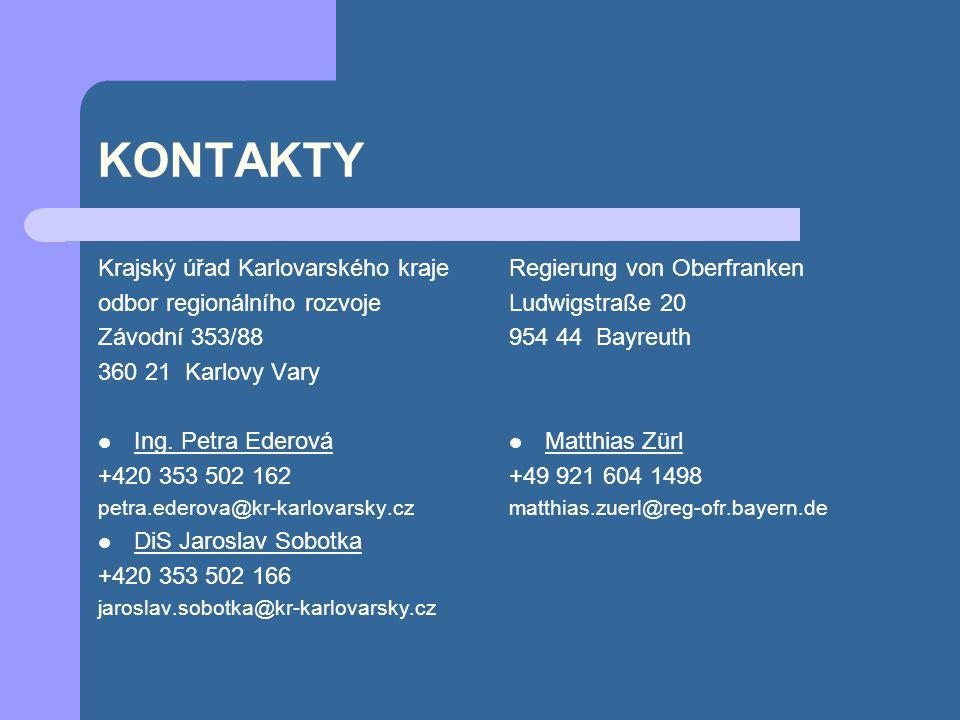 KONTAKTY Krajský úřad Karlovarského kraje odbor regionálního rozvoje