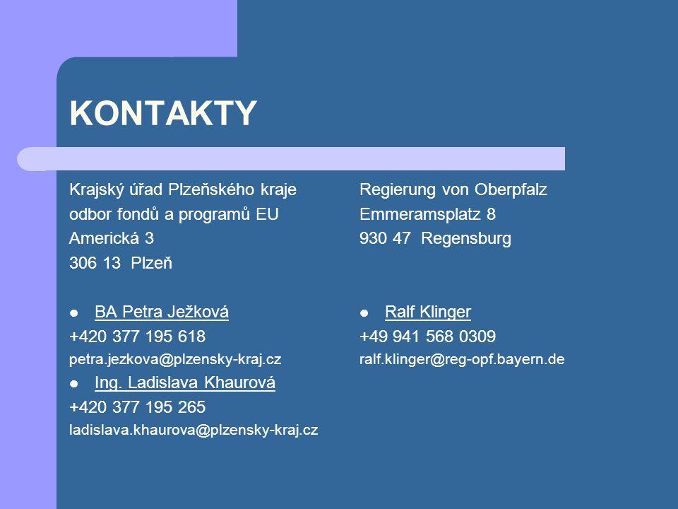 KONTAKTY Krajský úřad Plzeňského kraje odbor fondů a programů EU