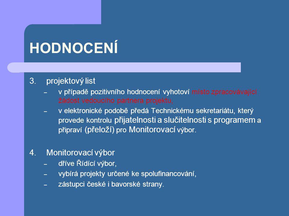 HODNOCENÍ projektový list Monitorovací výbor