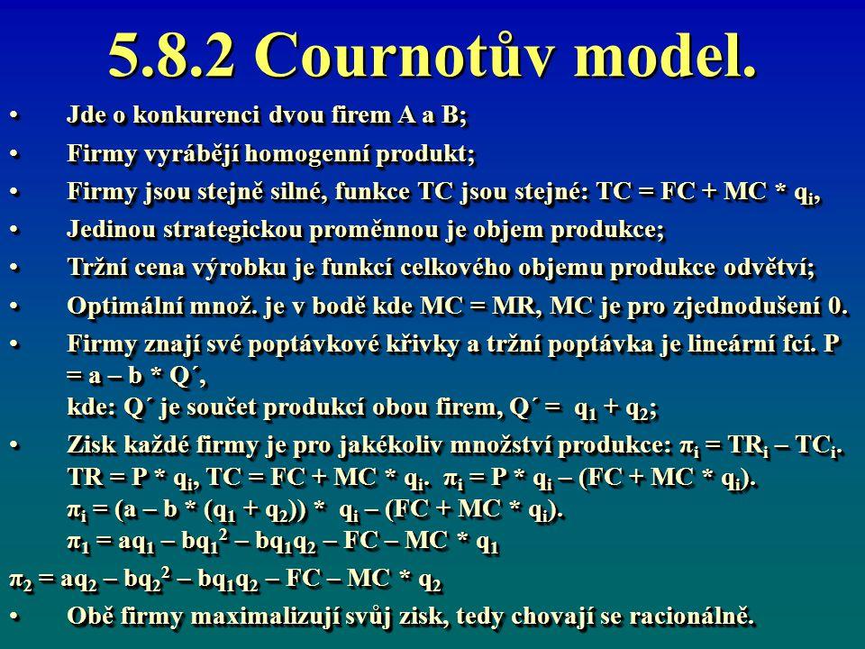 5.8.2 Cournotův model. Jde o konkurenci dvou firem A a B;