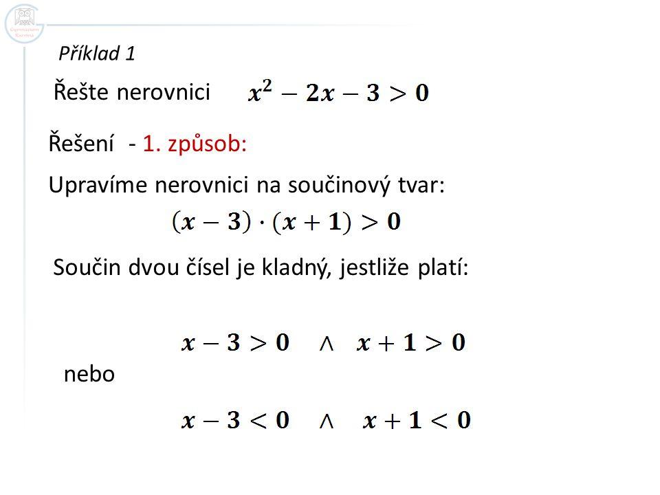 Upravíme nerovnici na součinový tvar: