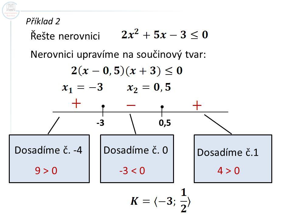 Nerovnici upravíme na součinový tvar: