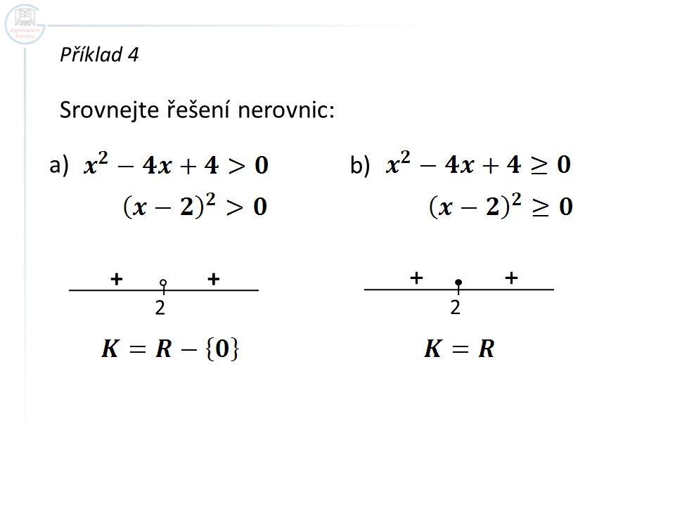 Srovnejte řešení nerovnic: