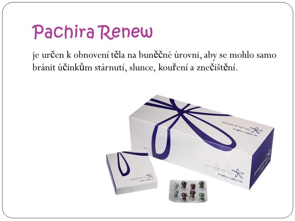 Pachira Renew je určen k obnovení těla na buněčné úrovni, aby se mohlo samo bránit účinkům stárnutí, slunce, kouření a znečištění.