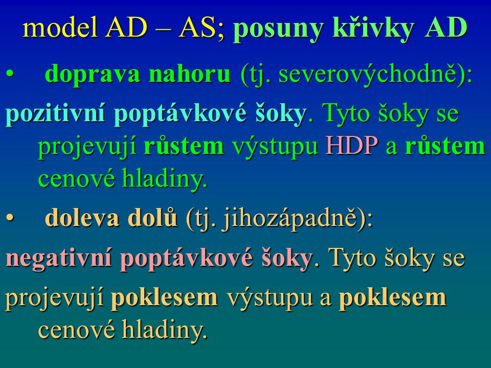 model AD – AS; posuny křivky AD
