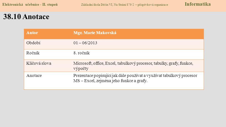 38.10 Anotace Autor Mgr. Marie Makovská Období 01 – 06/2013 Ročník