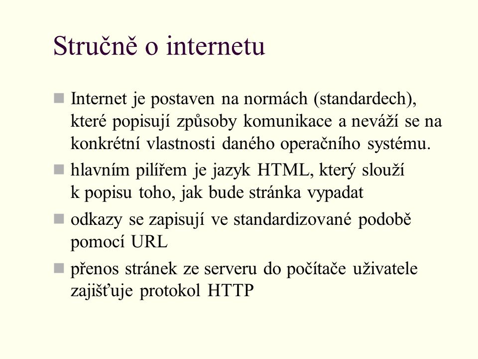 Stručně o internetu