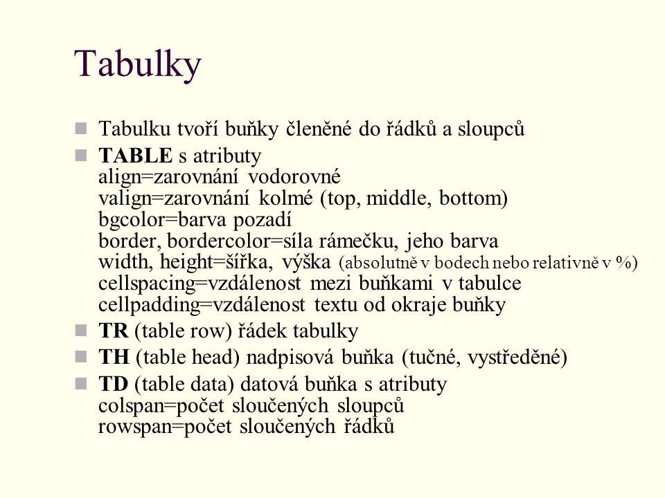 Tabulky Tabulku tvoří buňky členěné do řádků a sloupců