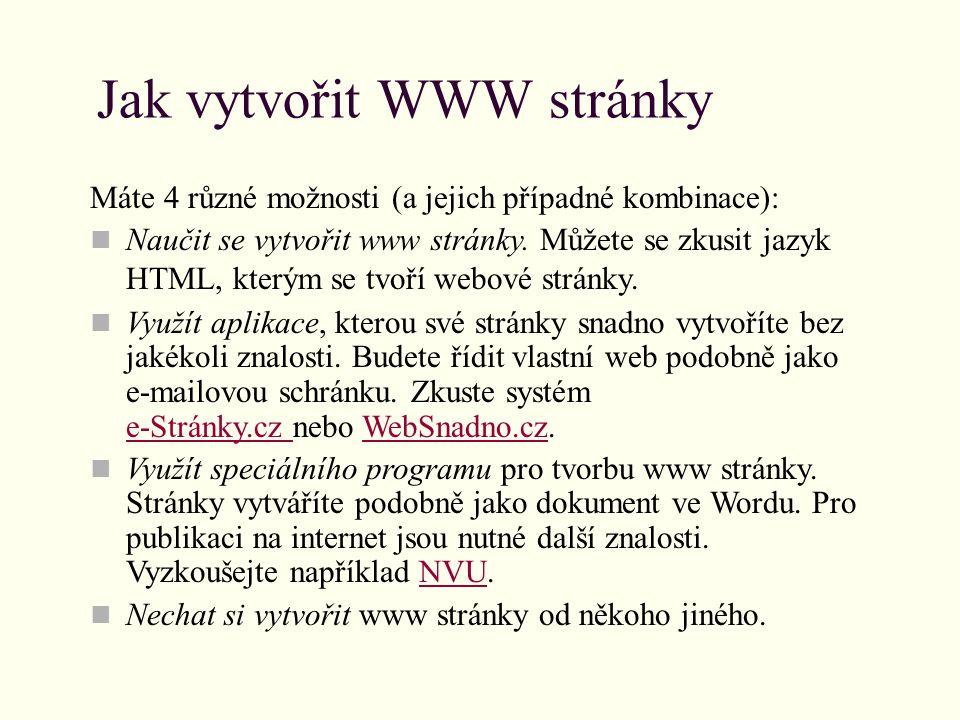 Jak vytvořit WWW stránky