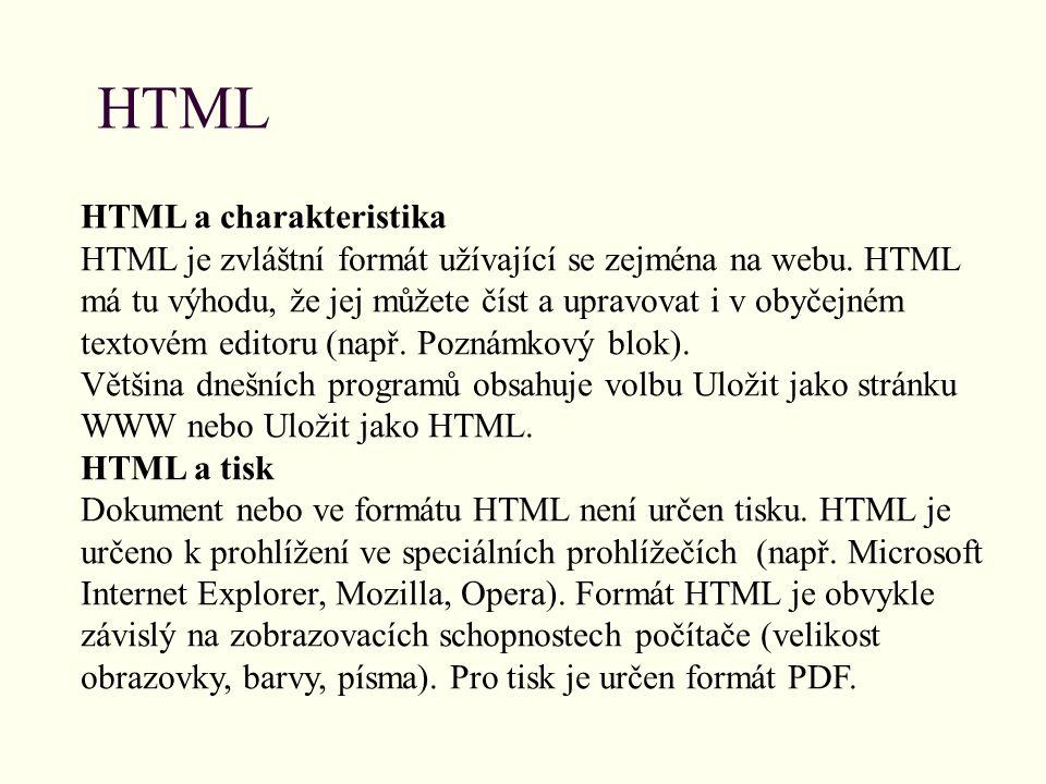 HTML HTML a charakteristika
